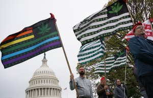Pro-cannabis activists take part in a rally on Capitol Hill on April 24, 2017. (Credit: Mandel Ngan / AFP / Getty Images)