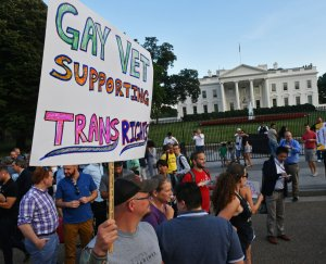 Protesters gather in front of the White House on July 26, 2017. (Credit: Paul J. Richards / AFP / Getty Images)