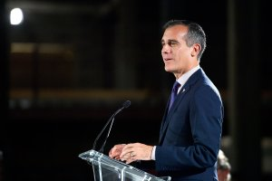 Los Angeles Mayor Eric Garcetti speaks onstage at the Academy Museum of Motion Pictures in L.A. on Sept. 27, 2017. (Credit: Matt Winkelmeyer / Getty Images)
