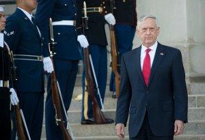 U.S. Secretary of Defense Jim Mattis arrives to greet Georgian Minister of Defense Levan Izoria prior to meetings at the Pentagon in Washington, D.C. on Nov. 13, 2017. (Credit: SAUL LOEB/AFP/Getty Images)