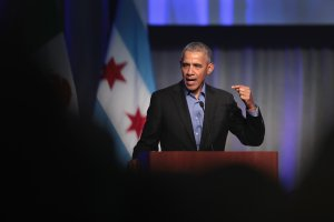 Former president Barack Obama speaks to a gathering of more than 50 mayors and other guests during the North American Climate Summit on Dec. 5, 2017, in Chicago. (Credit: Scott Olson / Getty Images)