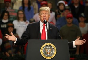President Donald Trump speaks during a rally at the Pensacola Bay Center on December 8, 2017 in Pensacola, Florida. (Credit: Joe Raedle/Getty Images)
