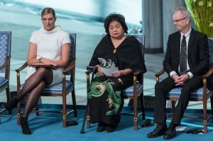 Beatrice Fihn, executive director of the International Campaign to Abolish Nuclear Weapons, Hiroshima nuclear bombing survivor Setsuko Thurlow and Nobel Committee member Henrik Syse attend the Nobel Peace Prize ceremony on Dec. 10, 2017, in Oslo, Norway. (Credit: Nigel Waldron / Getty Images)