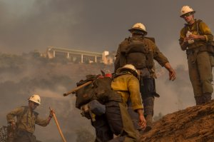 Firefighters climb a hill while cutting a line among homes at the Thomas Fire on Dec. 16, 2017, in Montecito. (Credit: David McNew/Getty Images)