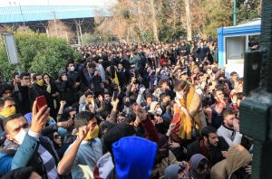 Iranian students protest at the University of Tehran during a demonstration driven by anger over economic problems, in the capital Tehran on Dec. 30, 2017. (Credit: STR/AFP/Getty Images)