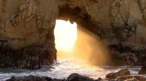 The Keyhole at Pfeiffer Beach in Big Sur is seen an image provided by KION via CNN.