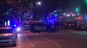 Streets were blocked off near downtown L.A. while police investigated a shooting that left an officer injured on Dec. 29, 2017. (Credit: KTLA)