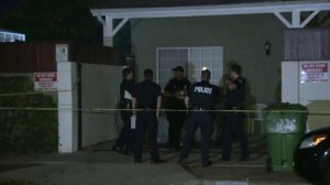 Police were investigating after a woman was found fatally shot and a man apparently attempted to overdose in a Del Rey home on Dec. 28, 2017. (Credit: KTLA)