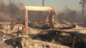 A Bonsall neighborhood is seen after being charred in the Lilac Fire on Dec. 8, 2017. (Credit: KTLA)