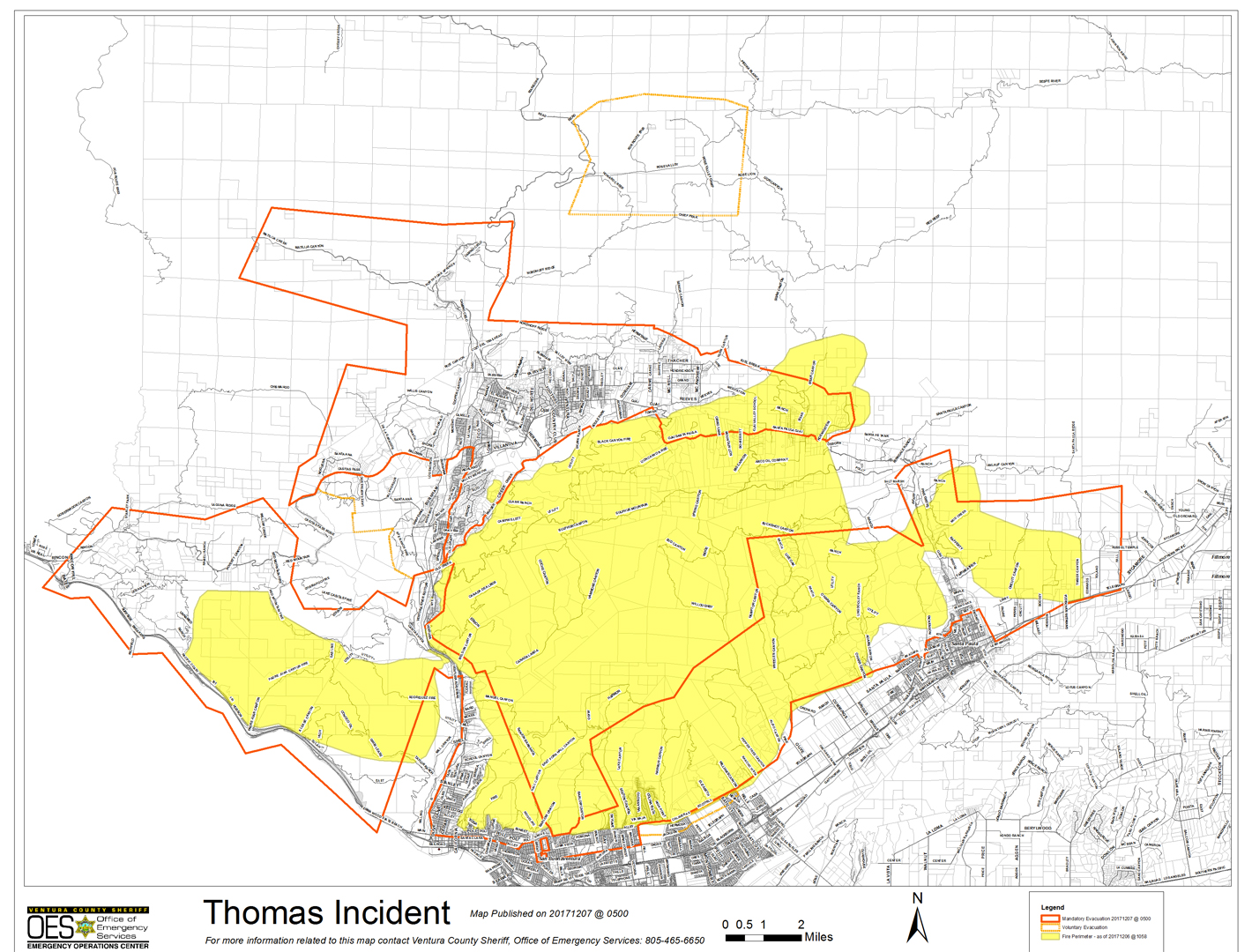 A map of the Thomas Fire provided by readyventuracounty.org.