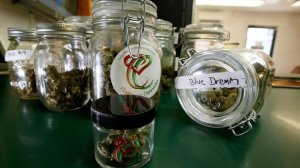 Marijuana is displayed in jars at a dispensary in South Los Angeles on June 27, 2017. (Credit: Luis Sinco / Los Angeles Times)
