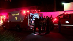 A person injured in a Monrovia shooting is loaded into an ambulance on Dec. 2, 2017. (Credit RMG News)