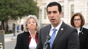Rep. Ruben Kihuen (D-NV) speaks during a news conference a month after the shooting in Las Vegas outside the U.S. Capitol Nov. 1, 2017, in Washington, D.C. (Credit: Chip Somodevilla/Getty Images)