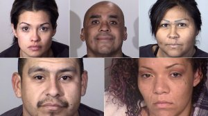 (Top, left to right) Lisette Topete, Juan Carrillo, Maryann Zuniga, (bottom left to right) David Rosales and Jasmine Zavala are shown in photos released by the Oxnard Police Department on Dec. 19, 2017.