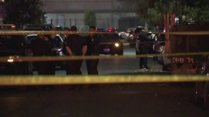 LAPD investigate a shooting in Pacoima that left five injured on Dec. 15, 2017. (Credit: KTLA)