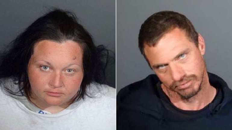 Sarah Nilson and Vincent Calogero are shown in booking photos released by LASD on Dec. 18, 2017.