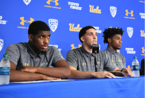 UCLA basketball players Cody Riley, LiAngelo Ball and Jalen Hill give statements at Pauley Pavilion in Los Angeles during a news conference on Nov. 15, 2017. (Credit: Wally Skalij / Los Angeles Times)