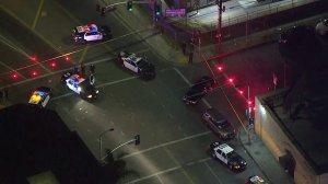 An LAPD officer was shot in the Westlake district on Dec. 29, 2017. (Credit: KTLA)