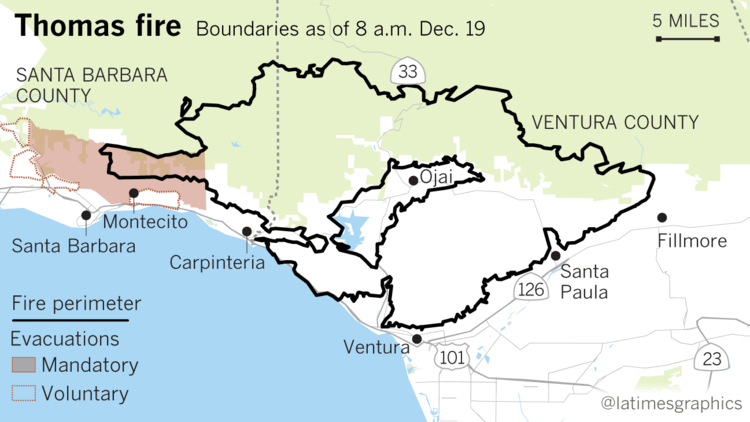 The Thomas Fire burn area is shown in a Los Angeles Times graphic as of morning Dec. 19, 2017.