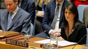 U.S. Ambassador to the U.N. Nikki Haley speaks after she voted against the vote on a draft resolution that would reject U.S. President Donald Trump's decision to recognize Jerusalem as the capital of Israel, during a meeting on the Israel-Palestine conflict, on Dec. 18, 2017, at U.N. Headquarters in New York City. (Credit: Kena Betancur/AFP/Getty Images)