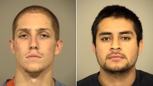 Caden Crowell, left, and Hector Delgado, right, are seen in booking photos released by authorities on Dec. 1, 2017. (Credit: Thousand Oaks Police Department)