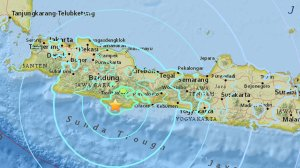 A magnitude-6.5 earthquake struck on Dec. 15, 2017 at Cipatujah, Indonesia, as shown in a USGS map.