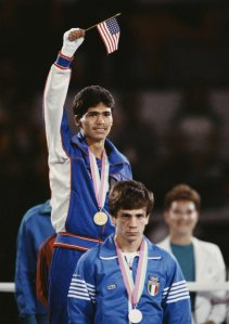 Paul Gonzales Jr. of the United States won the Men's Light-Flyweight Boxing final on Aug. 11, 1984, during the XXIII Olympic Summer Games at the L.A. Memorial Sports Arena in Los Angeles. (Credit: Getty Images)