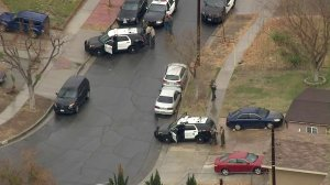 Officers respond to a scene in Canyon Country where authorities said a deputy was stabbed on Jan. 10, 2018. (Credit: KTLA)