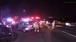 Two people were killed in a multivehicle crash on the 405 Freeway in Costa Mesa on Jan. 5, 2018. (Credit: Southern Counties News)
