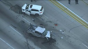 One person was killed in a head-on collision with the suspect's vehicle. (Credit: KTLA)