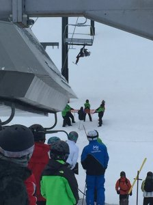 KTLA viewer Chris H. sent in this photo of a rescue of a skier at Mammoth Mountain on Jan. 4, 2017.