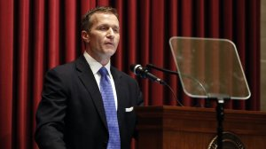 Missouri Gov. Eric Greitens delivers the annual State of the State address to a joint session of the House and Senate, Wednesday, Jan. 10, 2018, in Jefferson City, Mo. (Credit: Associated Press via CNN)