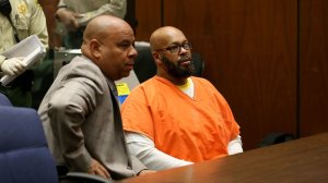 """Attorney Matthew Fletcher, left, who previously represented Marion """"Suge"""" Knight, right, during his ongoing murder case, was arrested Thursday. Prosecutors previously alleged in court filings that Fletcher, Knight and others engaged in possible witness tampering and bribery. (Credit: Irfan Khan / Los Angeles Times)"""