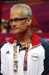 "John Geddert, the 2011 USA World Team and 2012 USA Olympic Team head coach, was suspended Monday under a provision in the USA Gymnastics bylaws that allows interim measures to be taken to ""to ensure the safety and well-being of the gymnastics community."" (Credit: Marc Serota/AP via CNN)"