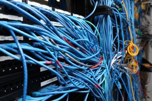 Network cables are plugged in a server room on Nov. 10, 2014, in New York City. (Credit: Michael Bocchieri / Getty Images)