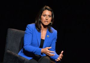 U.S. Representative, HI-02 Tulsi Gabbard speaks during a summit in New York City on Jan. 29, 2016. (Credit: Slaven Vlasic/Getty Images)