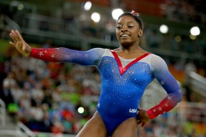 Simone Biles of the United States competes in the Women's Floor final during the Rio Olympic Games on Aug. 16, 2016. (Credit: Alex Livesey / Getty Images)