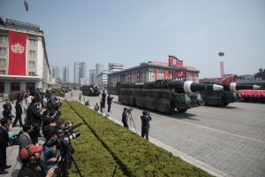 This picture taken on April 15, 2017 shows an unidentified rocket, reported to be a Hwasong-type missile similar to the one used in a May 14, 2017 test launch, at a military parade in Pyongyang. (Credit: ED JONES/AFP/Getty Images)