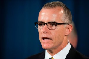 Andrew McCabe speaks during a press conference at the US Department of Justice in Washington, DC, on July 13, 2017. (Credit: JIM WATSON/AFP/Getty Images)