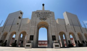 A file photo shows the Los Angeles Memorial Coliseum, which was renamed the United Airlines Memorial Coliseum on Jan. 29, 2018. (Credit: MARK RALSTON/AFP/Getty Images)