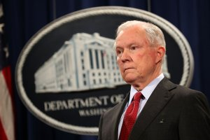 Attorney General Jeff Sessions holds a news conference at the Department of Justice on Dec. 15, 2017. (Credit: Chip Somodevilla / Getty Images)