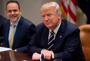 President Donald Trump speaks alongside Kentucky Governor Matt Bevin, left, during a meeting on prison reform in the Roosevelt Room of the White House in Washington, DC, January 11, 2018. (Credit: SAUL LOEB/AFP/Getty Images)