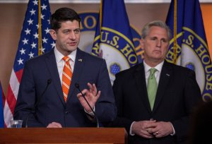 Speaker of House Paul Ryan and House Majority Leader Kevin McCarthy attend a press conference Capitol Hill on January 17, 2018 in Washington, DC. (Credit: Tasos Katopodis/Getty Images)