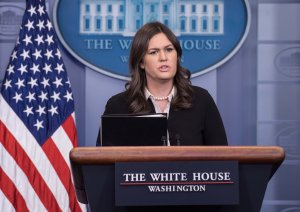 White House Press Secretary Sarah Huckabee Sanders speaks at the press briefing at the White House in Washington, DC, on January 17, 2018. (Credit: NICHOLAS KAMM/AFP/Getty Images)
