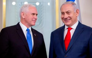 Vice President Mike Pence, left, meets with Israeli Prime Minister Benjamin Netanyahu at the prime minister's office in Jerusalem on Jan. 22, 2018. (Credit: ARIEL SCHALIT/AFP/Getty Images)