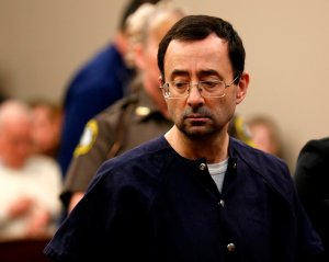 Former Michigan State University and USA Gymnastics doctor Larry Nassar addresses the court during the sentencing phase in Ingham County Circuit Court on January 24, 2018 in Lansing, Michigan. (Credit: JEFF KOWALSKY/AFP/Getty Images)