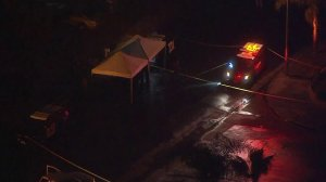 A man was in unknown condition after being shot by a deputy in Lake Forest on Jan. 19, 2018, authorities said. (Credit: KTLA)