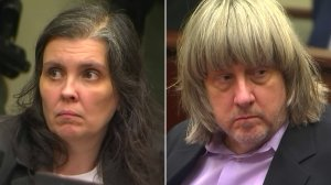 Louise Turpin and David Turpin are seen during their arraignment in Riverside on Jan. 18, 2018. (Credit: pool)