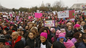 Hundreds of thousands of protesters fill Washington, D.C., to oppose Donald Trump's inauguration in 2017 (Credit: Carolyn Cole / Los Angeles Times)