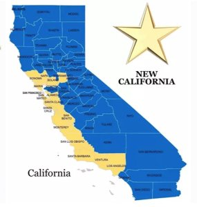 A rendering of what California and New California would look like under a proposal to split the state in two. (Credit: New California group)